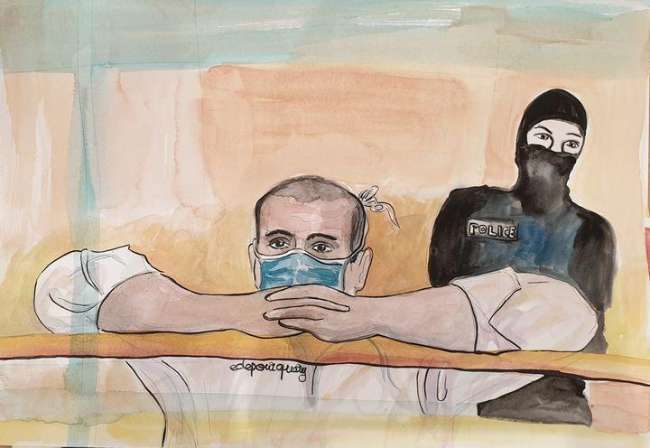 L'accusé Ali Riza Polat, le 26octobre 2020, devant la cour d'assises spéciale de Paris. (ELISABETH DE POURQUERY / FRANCEINFO)