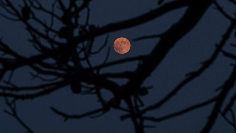 L'éclipse de Lune vue depuis le village grec de Mati, vendredi 27 juillet 2018. (MENELAOS MYRILLAS / MENELAOS MYRILLAS / SOOC / AFP)