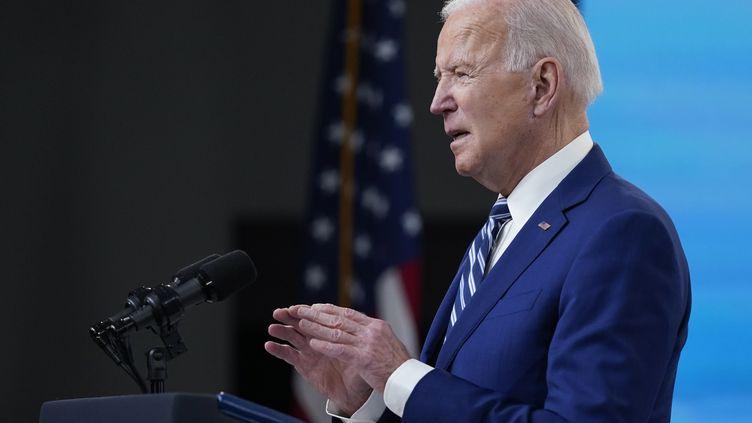 Le président des États-Unis Joe Biden, lors d'une conférence de presse à la Maison blanche à Washington, le 29 mars 2021. (EVAN VUCCI / AP)