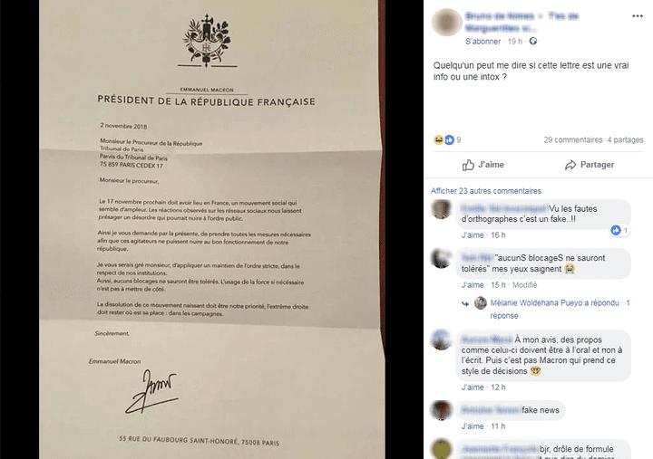 Une fausse lettre d'Emmanuel Macron, au sujet des blocages du 17 novembre, relayée par un internaute, sur Facebook. (FRANCEINFO)