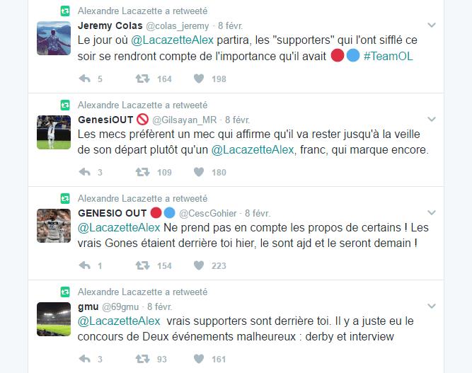 Capture d'écran du compte Twitter d'Alexandre Lacazette quelques heures après la victoire lyonnaise face à Nancy (4-0).