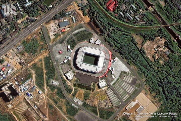 Le stade du Spartak, également appelé OtkrytieArena, est l'autre stade moscovite à accueillir des matchs pendant la Coupe du monde. (DEIMOS IMAGING / URTHECAST)