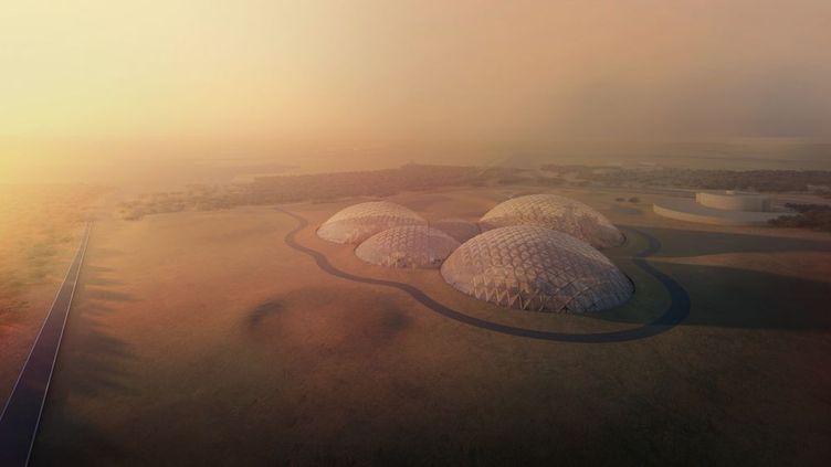 Vue d'artiste d'une ville martienne envisagée par l'agence spatiale des Emirats arabes unis, premier pays arabe à avoir lancé une sonde autour de Mars. (DUBAI MEDIA OFFICE)