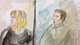 Cécile Bourgeon etBerkane Makhlouf, au premier jour de leur procès pour le meurtre de Fiona, le 14 novembre 2016 à Riom (Puy-de-Dôme). (ELISABETH DE POURQUERY / FRANCEINFO)