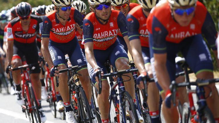 La formation Bahrain-Merida sur les routes du Tour d'Italie 2017, son premier Grand Tour. (LUK BENIES / AFP)