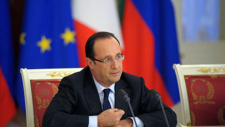 Le président français, François Hollande, le 28 février 2013 à Moscou (Russie). (ALEXSEY DRUGINYN / RIA NOVOSTI / AFP)