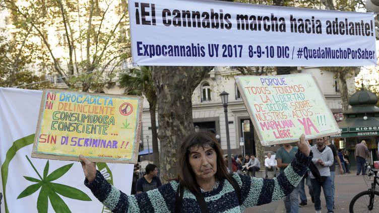 Une manifestante réclameque la loi sur la vente de cannabis soit appliquée plus rapidement, le 5 mai 2017 à Montevideo (Uruguay). (MIGUEL ROJO / AFP)