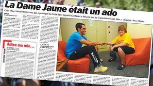Théo rencontre le cycliste espagnol Alberto Contador, le 11 juillet 2011, à Murat (Cantal), lors d'un jour de repos sur le Tour de France. (PIERRE-ALBERT JOSSERAND / FRANCEINFO / AFP / L'EQUIPE)