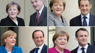 """Angela Merkel, une chancelière allemande qui a connu quatre présidents français. La France et l'Allemagne, souligne Jean Viard, """"C'est la construction d'un espace démocratique fait par la paix, mais pas par la guerre, et c'est quand même magnifique !"""" (PATRICK KOVARIK / AFP)"""