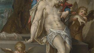 """""""Le Christ mort soutenu par les anges"""" de Bartholomeus Spranger, offert par le marchand d'art Bob Haboldt au Rijksmuseum d'Amsterdam en hommage aux victimes du Covid-19 (détail) (CAROLA VAN WIJK / RIJKSMUSEUM / AFP)"""
