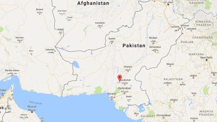 Capture d'écran de Google maps pointant la ville pakistanaise de Sehwan Sharif, dans le sud du pays, où un attentat suicide a fait au moins 72 morts, le 16 février 2017. (GOOGLE MAPS)