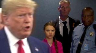 Greta Thunberglors de l'arrivée de Donald Trump au sommet pour le climat, à New York, le 23 septembre 2019. (ANDREW HOFSTETTER / REUTERS)