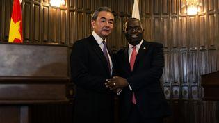 Le ministre chinois des Affaires étrangères,Wang Yi (à gauche),avec son homologue zimbabwéen,Sibusiso Moyo, à Harare le 12 janvier 2020. (JEKESAI NJIKIZANA / AFP)