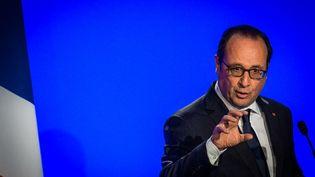 François Hollande prononce un discours à Strasbourg (Bas-Rhin), le 26 avril 2015. ( CITIZENSIDE / AFP)