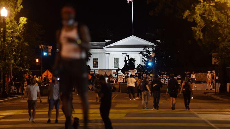 La statue d'Andrew Jackson, le 26 juin 2020 à Washington (Etats-Unis). (OLIVIER DOULIERY / AFP)