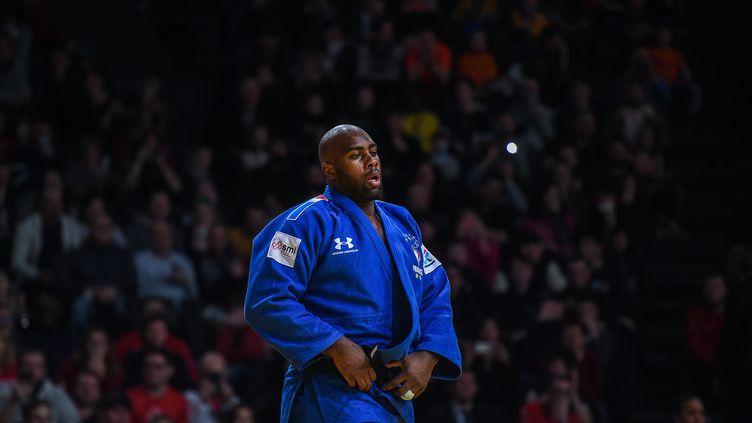 Teddy Riner au Paris Grand Slam 2020, à Paris, le 9 février 2020. (LUCAS BARIOULET / AFP)