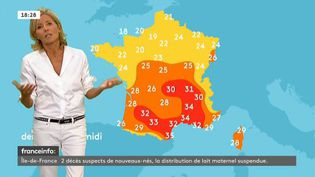 Claire Chzal présente la météo sur franceinfo, samedi 3 septembre 2016. (FRANCEINFO)
