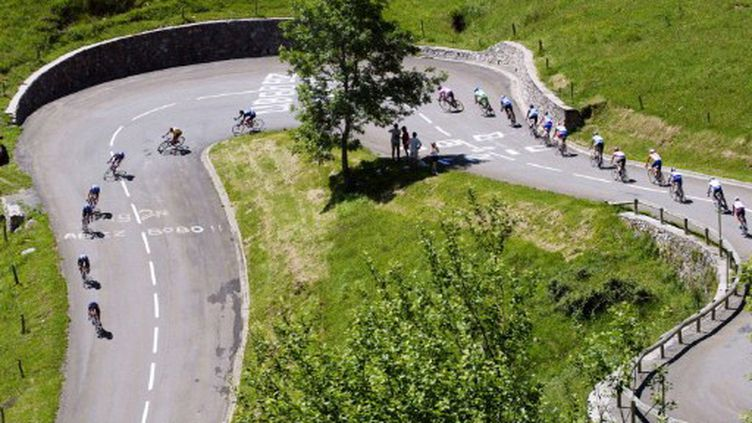 Les coureurs dans la descente du Plateau de Beille (JOEL SAGET / AFP)