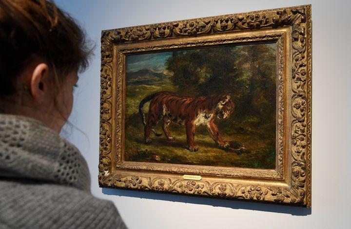 """""""Tigre jouant avec une tortue"""", Eugène Delacroix (1862)  (BERTRAND GUAY / AFP)"""