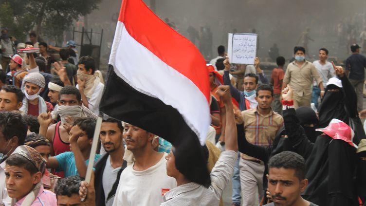 Marche contre les miliciens Houthis dans la ville de Taez,au Yémen, le 23 mars 2015. (WADDAH ABDULQADE ABDULQAWI / ANADOLU AGENCY / AFP)