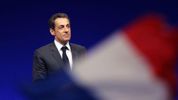 Le président candidat Nicolas Sarkozy lors d'un meeting à Nice (Alpes-Maritimes),le 20 avril 2012. (VALERY HACHE / AFP)