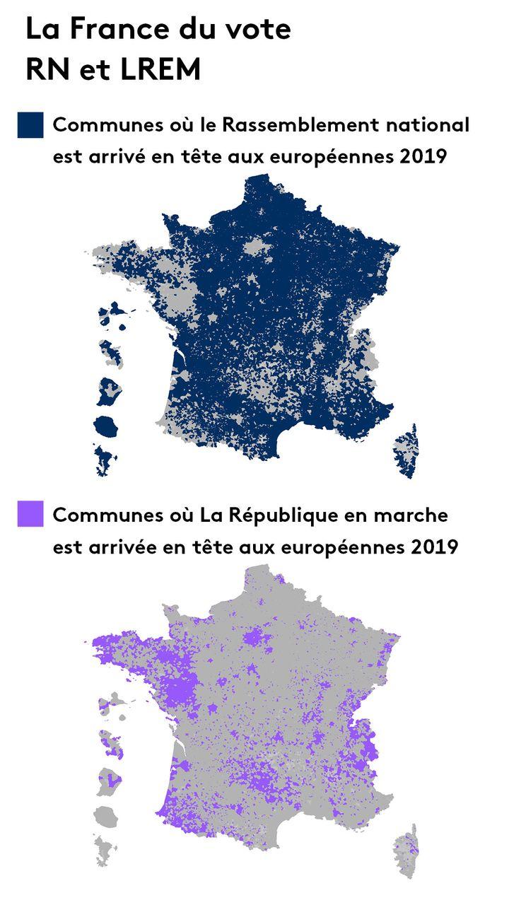 La France du vote RN et LREM. (FRANCEINFO)