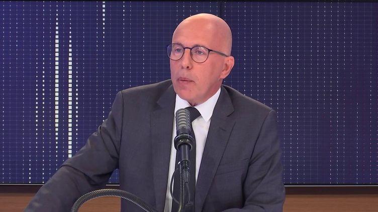 """Éric Ciotti,député LR des Alpes-Maritimes, était l'invité du """"8h30franceinfo"""", mardi 31août 2021. (FRANCEINFO / RADIOFRANCE)"""