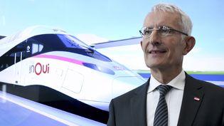 Le PDG de la SNCF Guillaume Pepy, le 26 juillet 2018 au siège social, à La Plainte Saint-Denis. (ERIC PIERMONT / AFP)