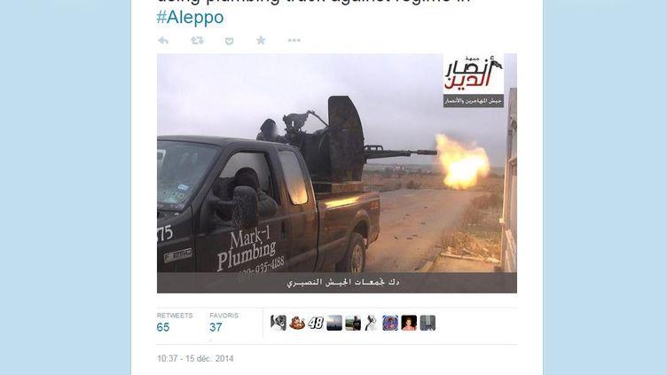 Capture d'écran d'un tweet montrant une photo de l'ancien pick-up deJeff Oberholtzer aux mains de jihadistes combattant en Syrie. (TWITTER)