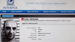 Capture d'écran, le 15 avril 2013, de la fiche émise par Interpol sur Redoine Faïd après son évasion de Sequedin (Nord). (INTERPOL / AFP)