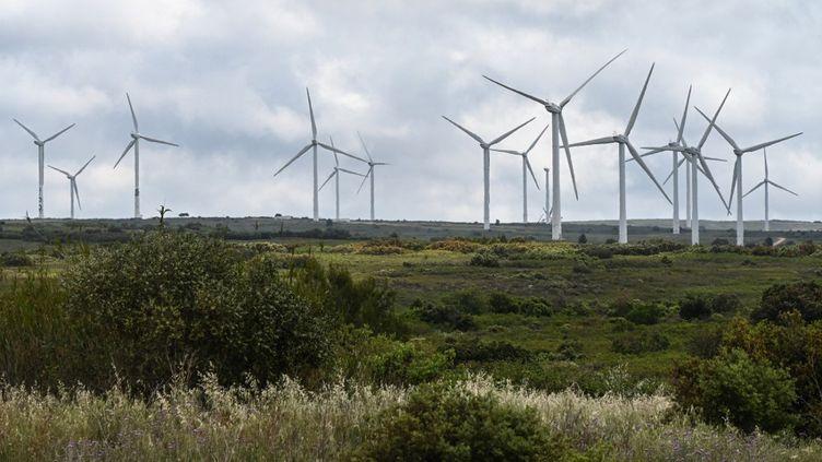 Un parc éolien près de Villeveyrac (Hérault), le 1er juin 2021. (PASCAL GUYOT / AFP)