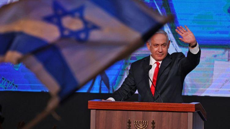 Le Premier ministre israélien, Benyamin Nétanyahou, le 24 mars 2021 à Jérusalem. (EMMANUEL DUNAND / AFP)