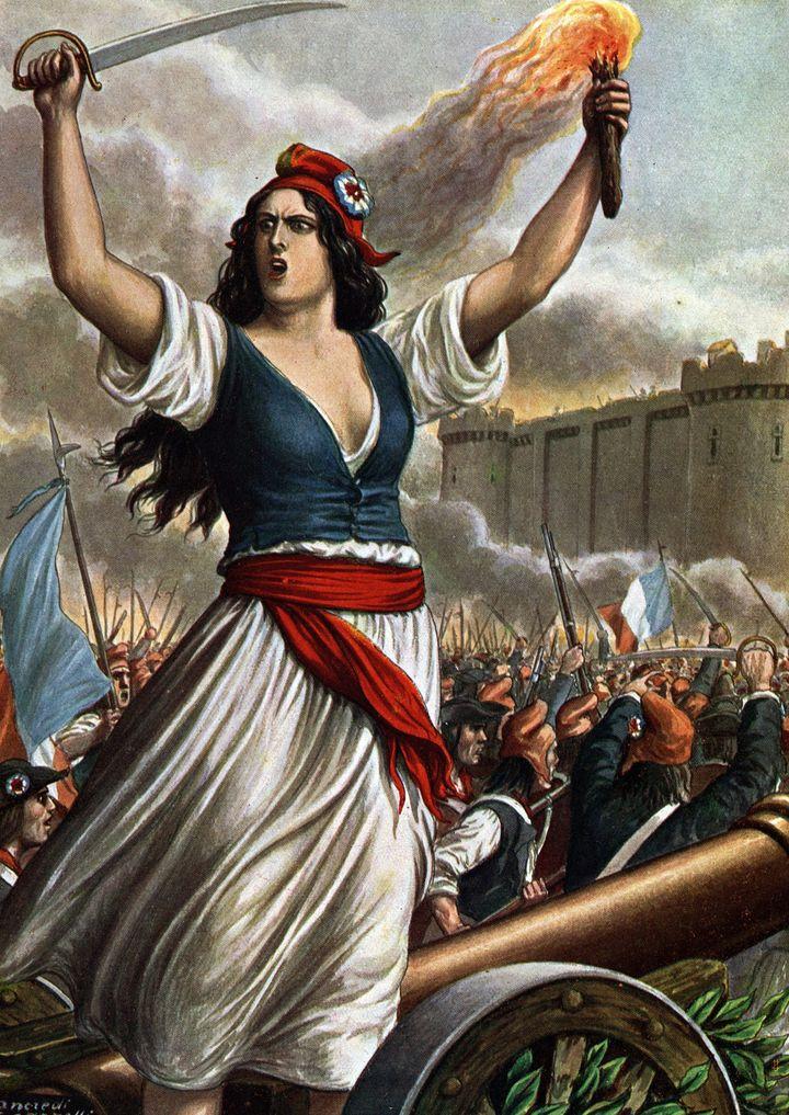 Allégorie du peuple sous les traits d'une femme une torche et une epee a la main, coiffée d'un bonnet phrygien, devant la Bastille assiégée  (Leemage)