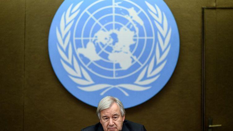 Le Secrétaire général des Nations Unies, Antonio Guterres,lors d'uneconférence de presse, à Genève (Suisse), le 13 septembre 2021. (FABRICE COFFRINI / AFP)