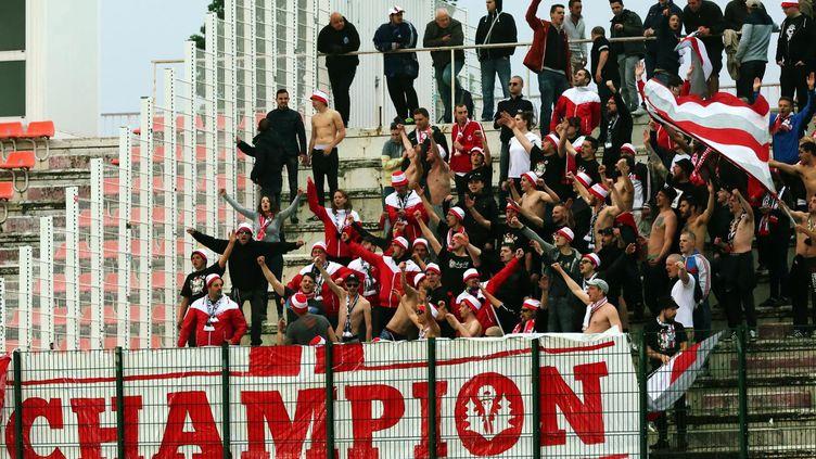 Des supporters de Nancy fêtent le titre de champion de Ligue 2 de leur équipe, le 13 mai 2016, lors d'un match à Tours. (MAXPPP)