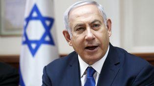 Le Premier ministre Benyamin Nétanyahou lors d'une réunion hebdomadaire de son cabinet, le 15 juillet 2018 à Jérusalem (Israël). (RONEN ZVULUN / AFP)