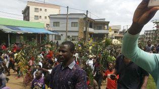 Des Camerounais de la minorité anglophone manifestent à Bamenda, la capitale de la province du Nord-Ouest le 22 septembre 2017. Ils dénoncent les discriminations dont ils feraient l'objet de la part du pouvoir majoritairement francophone. (STRINGER / AFP)