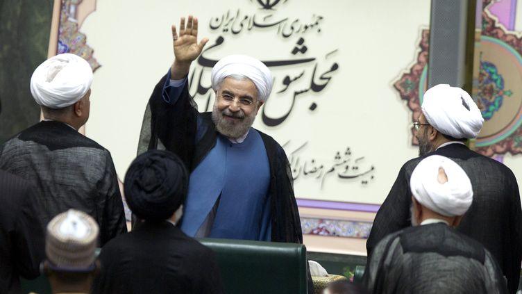 Le président iranien Hassan Rohani, le 4 août 2013, après son investiture au Parlement iranien, à Téhéran. ( MAXPPP)