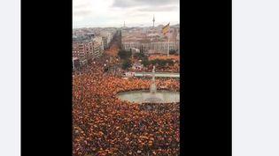 Une publication Facebook très largement partagée affirme montrer une manifestation à Madrid contre les mesures sanitaires (CATPURE ECRAN FACEBOOK)