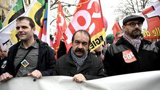 Le secrétaire général de la CGT Philippe Martinez à Paris, le 11 janvier 2020. (LIONEL BONAVENTURE / AFP)
