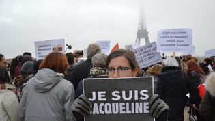 Lors d'un rassemblement réclamant la libération de Jacqueline Sauvage, à Paris, le 10 décembre 2016. (ALPHA CIT / CITIZENSIDE / AFP)