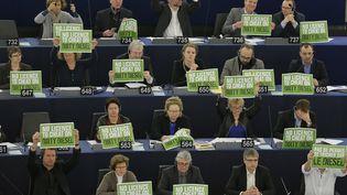 """Des eurodéputés du groupe parlementaire Verts / Alliance libre européenne tiennent des affiches """"Pas de permis de tricher sur le diesel"""", lors d'une session de vote au Parlement européen, à Strasbourg (Bas-Rhin), le 3 février 2016. (VINCENT KESSLER / REUTERS)"""