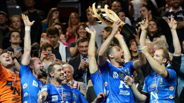 La joie de Montpellier, vainqueur de la Coupe de France aux dépens du PSG