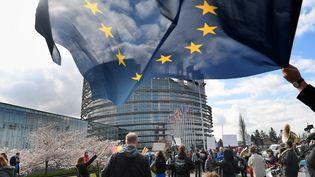 Partisans de la réforme européenne du droit d'auteur, Strasbourg, 26 mars 2019  (FREDERICK FLORIN / AFP)
