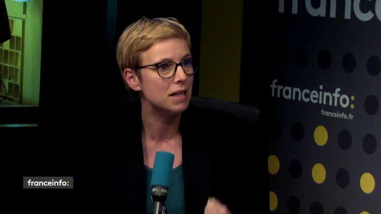 """La députée La France insoumise Clémentine Autain était l'invitée du """"19h20 politique"""" vendredi 4 mai 2018 sur franceinfo. (FRANCEINFO)"""