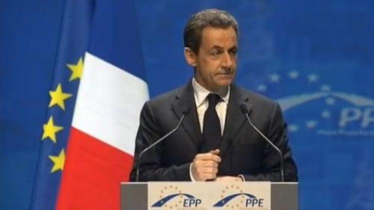 Nicolas Sarkozy devant devant le congrès des partis européens de droite (PPE) à Marseille (Bouches-du-Rhône) à Marseille. (FTVI)
