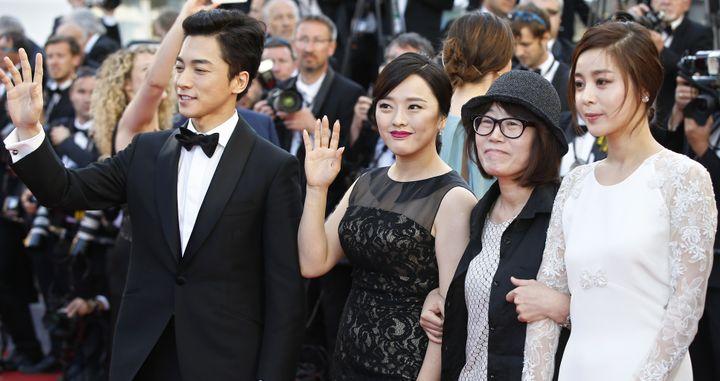 Kim Young-Min, Seo Young-Hee, Shin Su-Won et Kwon So-Hyun au festival de Cannes en 2015  (VALERY HACHE / AFP)