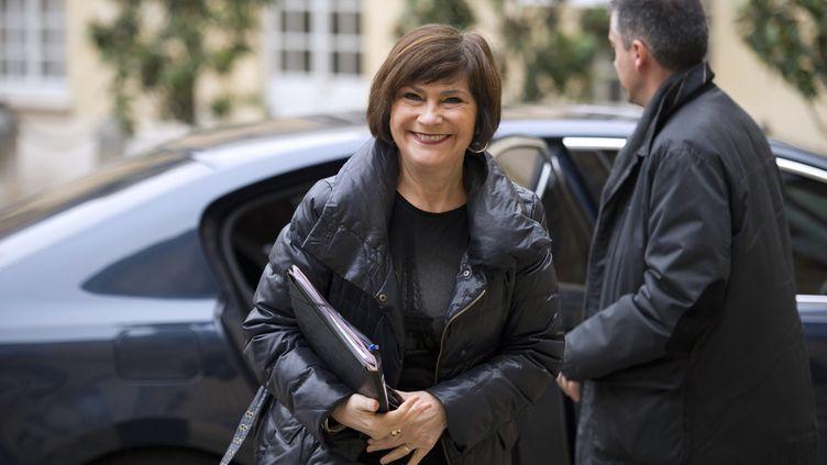 La ministre déléguéechargée des personnes handicapés et de la lutte contre l'exclusion, Marie-Arlette Carlotti, à l'hôtel Matignon, le 1er mars 2013 à Paris. (LIONEL BONAVENTURE / AFP)