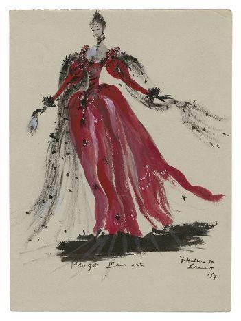 La Reine Margot croquis de théâtre, 1953  (Fondation Pierre Bergé -Yves Saint Laurent )