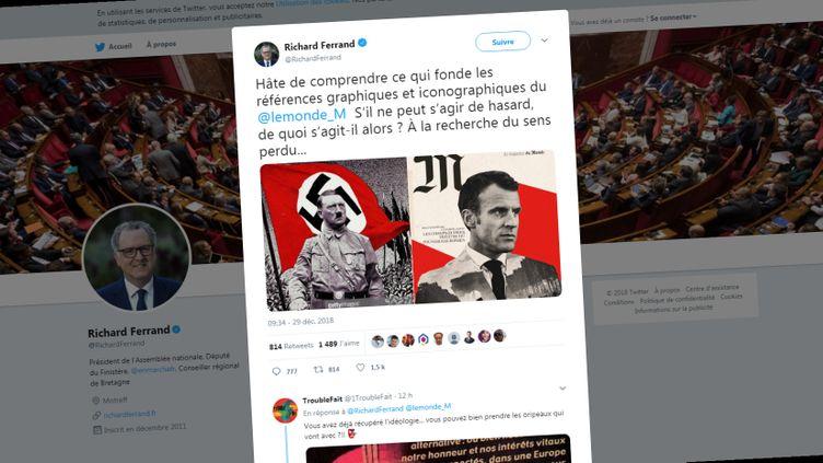 """Capture d'écran du compte Twitter de Richard Ferrand, président de l'Assemblée nationale, dénonçant la une du magazine du """"Monde"""" paru vendredi 28 décembre 2018. (RICHARD FERRAND / TWITTER)"""
